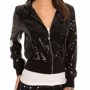 Guess Rock Sequins Cropped Hoodie
